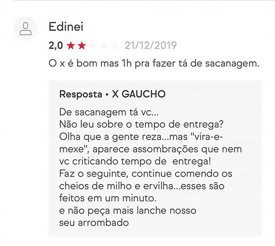 As incríveis avaliações do X GAÚCHO no iFood